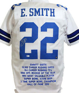 Emmitt Smith Autographed White Pro Style STAT Jersey- Beckett W *Silver