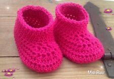 Bota Bebe Rosa Fucsia Patucos Hilo 0/3 Meses Crochet Zapato Artesanal Nuevo
