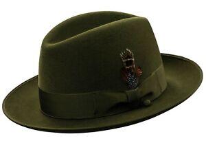 Selentino New Gino Genuine Suede Fur Felt Fedora Hat, 9 Colors, All Sizes