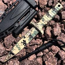 "7"" Digital Camo Tactical Survival Neck Knife Necklace w/ Fire Starter & Sheath -"
