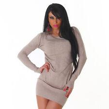Sexy Kleid Minikleid Longpullover Pulli Pullover Braun Struktur L XL