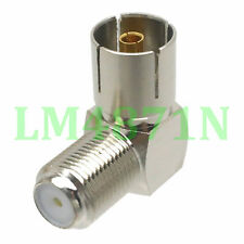 1pce Adapter 90° F female jack to IEC PAL DVB-T TV female connector right angle