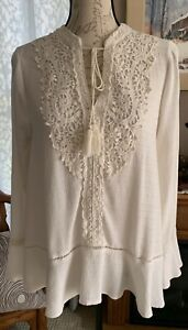 KNOX ROSE BOHEMIAN IVORY TUNIC TOP SZ L