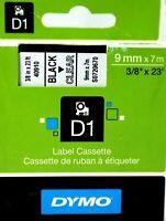 DYMO Label Cassette D1 BLACK on CLEAR 9 mm x 7 m  40910