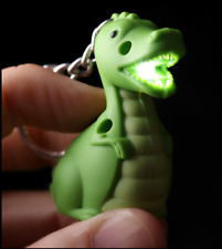 Green Dinosaur Keyring LED Torch with Sound Novelty Torch Flashlight Party Gifts