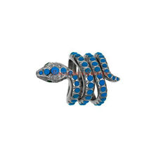 ESTATE VINTAGE ANTIQUE ROSE CUT DIAMOND 0.70ct SILVER TURQUOISE SNAKE STYLE RING