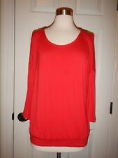 Chico's 2 = Size 12 Red Rayon Dolman Sleeves Banded Hem Knit Top