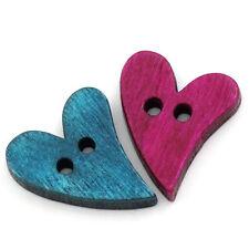 50 x Assortiment Couleurs cool cœur forme en bois Boutons 20 mm x 13 mm love valentine