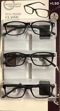 Design Optics Full Frame Classic Unisex 3 Reading Glasses Cases UV +1.50 OPEN BX