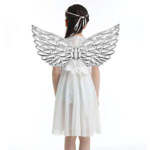 Adult Kids Feather/Metallic Angel Wings Fairy Fancy Dress Costume Christmas Prop