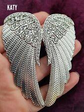 Very Large Vintage Silver Diamante Angel Wings Crystal Big Christmas Brooch Pin