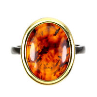 Natural Oval Amber Poland 16x12mm White Gold Plate 925 Sterling Silver Ring