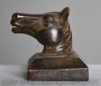 """1.6 """"Chine Ancienne Bronze Dynastie Animal Tête De Cheval Sceau Impérial Sceau"""
