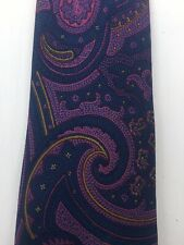 Dunhill Silk Tie Blue & Pink Paisley Print Made in Italy