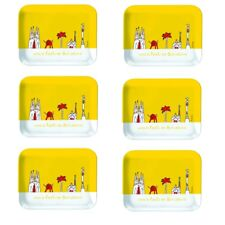 Viva Fiesta En Barcelona gelb 6 Frühstücksteller Tablett ca 19 x 15 cm Picknick