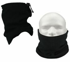 Mens Ladies Black Thermal Neckwarmer Polar Fleece Snood Scarf Hat Ski Wear