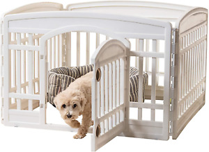 24 Inch 4 Panel Exercise Pet Playpen with Door Durable Molded Plastic White