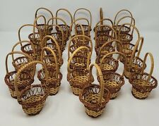 Lot of 27 Small Miniature Wicker Rattan Easter Baskets with Handle for Crafts