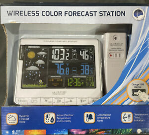 La Crosse Technology Color Weather Forecast Station Wireless Sensor Atomic Time