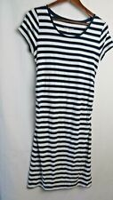 Liz Lange Materity Dress Short Sleeve Round Neck Ruched Sides Blue White M #9835