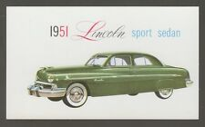 [60893] DEALER PROMOTION POSTCARD 1951 LINCOLN SPORT SEDAN
