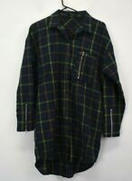 Very J Women's Small Long Sleeve 100% Cotton Plaid Button Up Shirt Green/Red