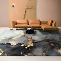 Living Room Area Rugs Abstract Ink Black Gray Gold Carpets Anti-Slip Floor Mats