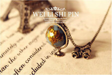 Charm Vintage Bronze Plated Telescope & Globe Pendant Retro Long Chain Necklace