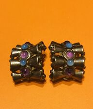 Vintage Sterling Silver Amethyst Earrings