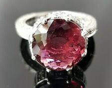6.90TCW Vintage Round Berry Pink Red Tourmaline Diamond Platinum ring