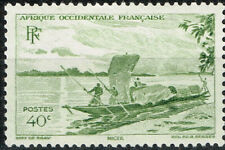 New ListingFrench West Africa Ethnicities Culture Tribal Men and Boat stamp 1947 Mlh