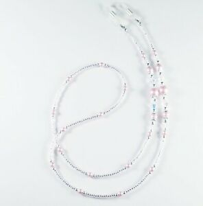 Beaded Eyeglass Chain/Holder~Classic Pink Pearl and Silver~ Swarovski Crystal