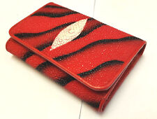Genuine Stingray Wallets Skin Leather Short Trifold Clutch Men's Red Wallet