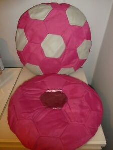 GIRLS PINK FOOTBALL CUSHION/SEAT CUSHION UNUSUAL/BEDROOM + ANOTHER FREE