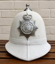 OBSOLETE BRIGHTON POLICE WHITE SUMMER MOTORCYCLE HELMET QUEENS CROWN PLATE BADGE