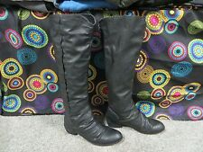 Bakers Black Faux Leather Fashion Knee-High Boots w/Back Zipper, sz 7.5