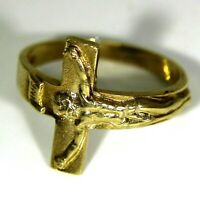 Crucifix Cross 9ct Yellow Gold Band Ring size L 1/2 ~ US 6