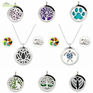25mm 316L Steel Twist Aromatherapy Essential Oil Diffuser Necklace Pendant+Chain