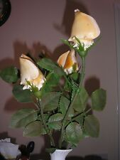 4 x Decorative Artificial Flowers - Roses made of Seashells and Plastic Leaves