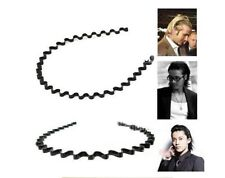 Mens Women Unisex Black Wavy Hair Head Hoop Band Sport Headband Hairband G。