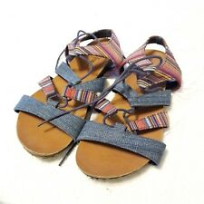 B42 womens colorful striped MINNETONKA denim lace up strappy sandals textile 9 M