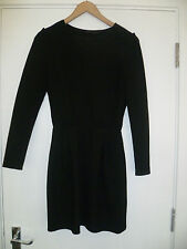ZARA SIZE S BLACK STRETCH LONG SLEEVE DRESS IDEAL WORK EXTERNAL SEAM DETAIL VGC