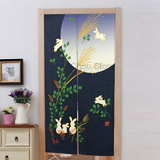 Japanese Noren Rabit Moon Pattern Curtain Divider Wall Hanging Doorway Tapestry