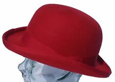 100% firm top wool red bowler derby hat - medium approx 58cm