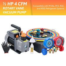 Omt 13hp 4cfm Hvac Auto Ac Vacuum Pump With Manifold Gauge Set Amp Accessories Us