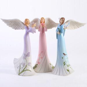 Floral Pastel Angel Figurine - Ornament - 20cm - Pink Heart, Purple Butterfly