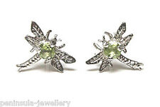 9ct White Gold Peridot Dragonfly studs Earrings Gift Boxed Made in UK