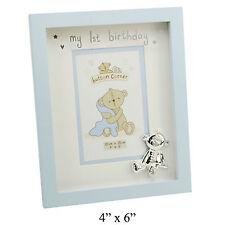 """Button Corner Baby Blue BOY  """"  My 1 st Birthday """" Photo Picture Frame"""