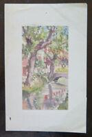 Klein Malerei Derartige Aquarell Vintage Landschaft IN Stil Impressionist P28.4