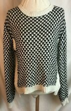 TOPSHOP JUMPER - Size 12 - Black Cream - Checked - Knitted tunic top Women's -E